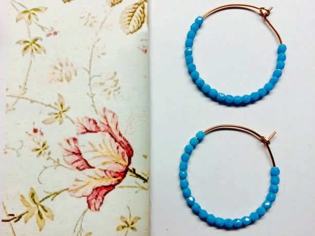 Tiny Faceted Czech glass beaded gold filled 14 karat hoops sterling silver or brass, gift for her, simple everyday jewelry, pretty jewellery
