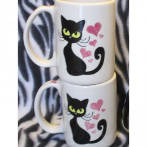 set of 2 12 ounce tattoo coffee cups mugs Black Cat Kitty ceramic pottery OHIO USA handmade hand made