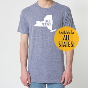 All States Once. Always. Tri Blend Track T-Shirt - Unisex Tee Shirts Size XS S M L XL XXL xxL