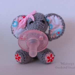 crochet binky buddy, pacifier holder, stuffed animal, handmade, baby shower gift, photo prop, new baby gift, soothie, elephant toy