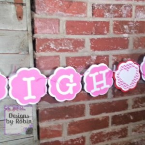 Valentine  Name Banner, red pink and white name banner, baby banner, its a girl banner