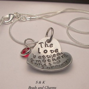 The  love between a mother and son is forever, custom hand stamped  necklace