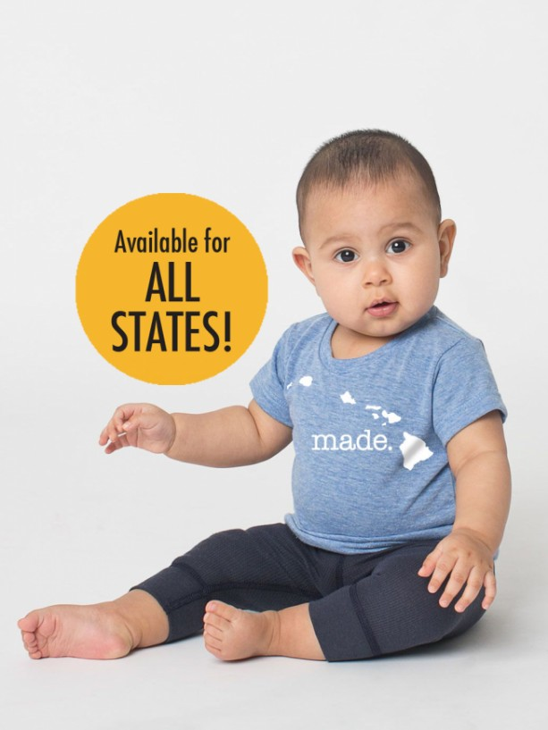 All States and Washington DC 'Made.' Tri Blend Baby T-Shirt - Infant Boy and Girl Tee
