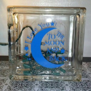 I Love you to the Moon and Back Night Light/ Nursery Decor-GLass Block