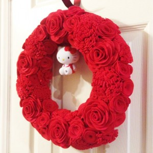 Handmade Red Wreath with Hello Kitty Figurine