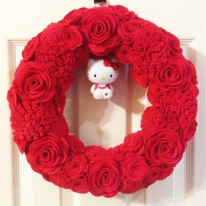 Handmade Red Wreath with Hello Kitty Figurine