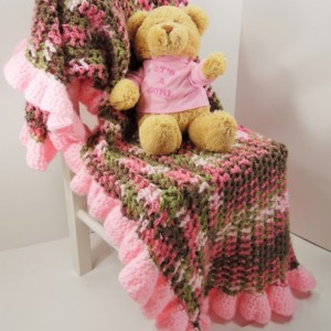 "Custom Crochet Baby Girl Blanket 24"" X 36"""