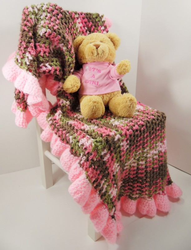 """Custom Crochet Baby Girl Blanket 24"""" X 36"""""""