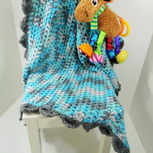 "Custom Crochet Baby Boy Blanket 24"" X 36"""