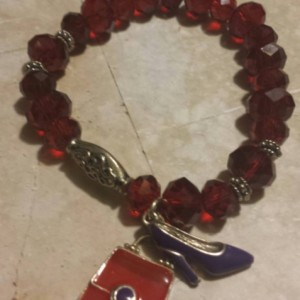 Red hat club - Gift for grandma - Red hat - Red bracelet -  Gift - red Beaded bracelet -  Beaded Bracelet - Stretch Bracelet  - Charm