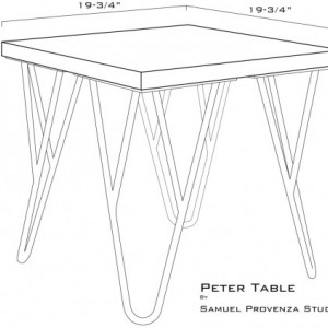 Contemporary  Wood and Metal End Table - Solid Hardwood Sapele Top with White Steel Powder Coated Legs - Modern Unique Hairpin legs