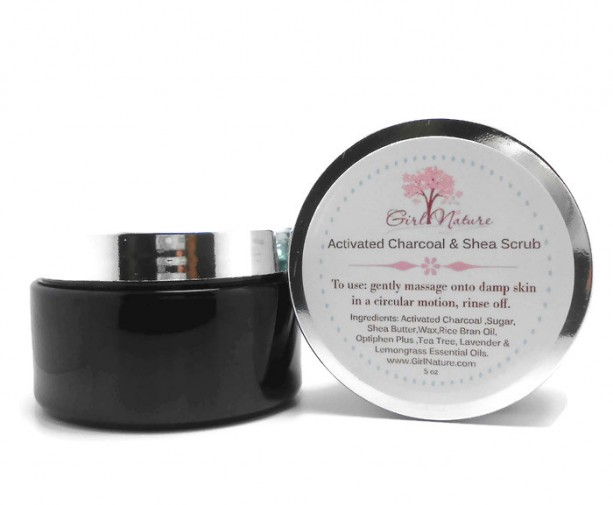 Activated Charcoal Sugar Scrub with Shea Butter , Lavender , Lemongrass and  Tea Tree Oil
