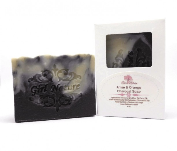 Active Charcoal Soap  Luxury Soap  with Shea Butter , Anise and Orange Essential Oil  Black Licorice Soap