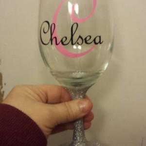 Personalized Wine Glasses - Glittered Stem Wine Glasses - Gift - Custom Wine Glass - Party - Bridesmaid - Wedding - 21st Birthday - Glass