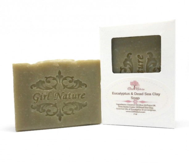 Dead Sea Mud Soap Luxury Soap with Shea Butter ,  Eucalyptus & Lemongrass Essential oil