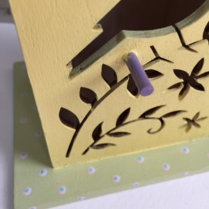 Hand Painted Bird House / Cottage Chic / Spring Decoration / Whimsical Gift / Die Cut Flowers / Acrylic Painting / Yellow Bird / Etsy Crafts