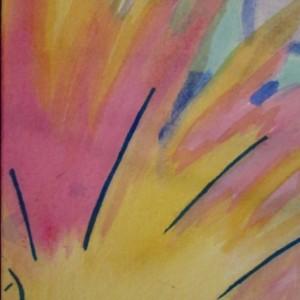 Watercolor painting, long and narrow wall art, pregnant glow