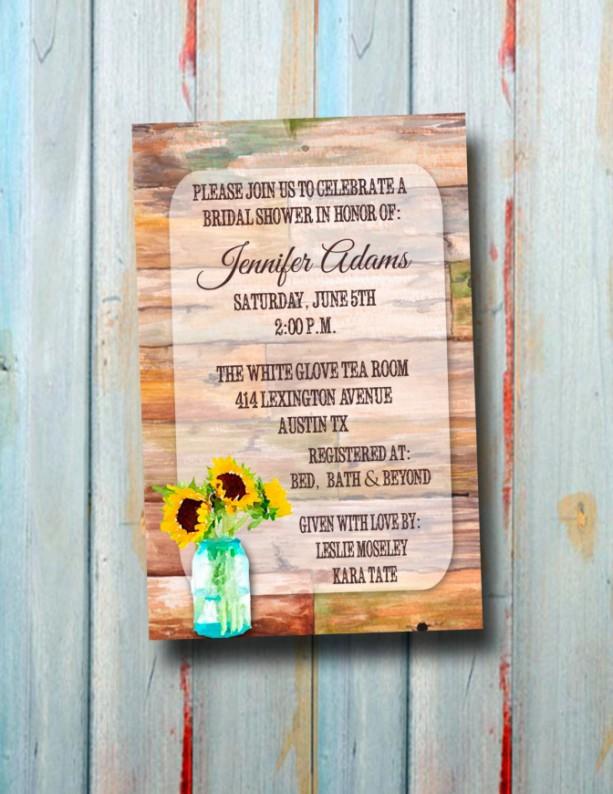 Custom Rustic Sunflower Watercolor Wedding Shower Invitation - Bridal Shower Invitation - Wedding Shower Invitation