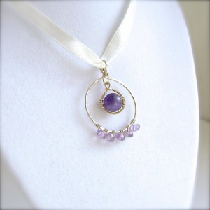 Amethyst Pendant, 14K Gold Filled, Wire Wrapped, Circle Necklace, Gemstone Jewelry, Genuine Amethyst, Purple, Lavender, Violet, 908