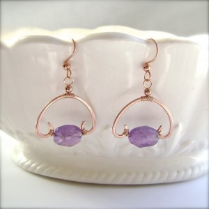 Amethyst Earrings, Copper Wire, Wrapped, Half Circle, Arch Earrings, Minimalist, Primitive, Torc, Gemstone Jewelry, 906