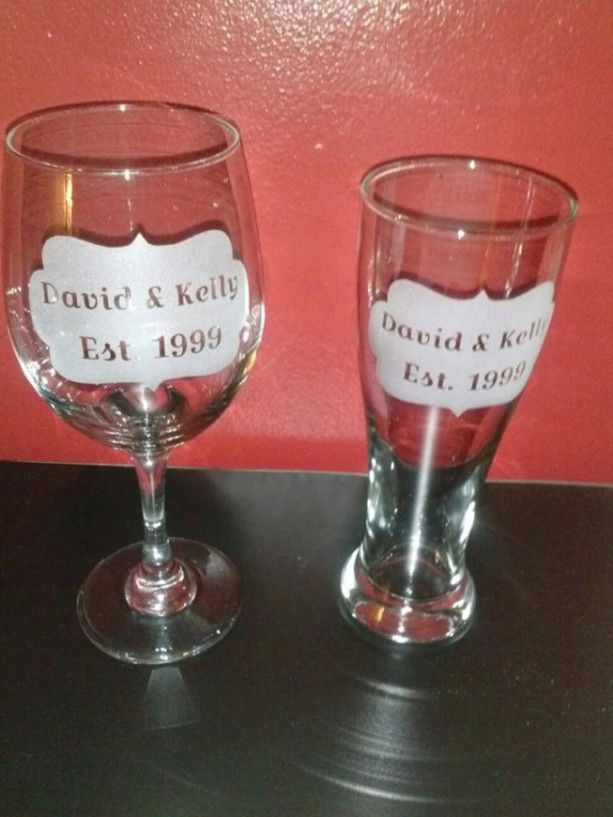 Wedding or Anniversary Gift Custom Etched Glassware - Established