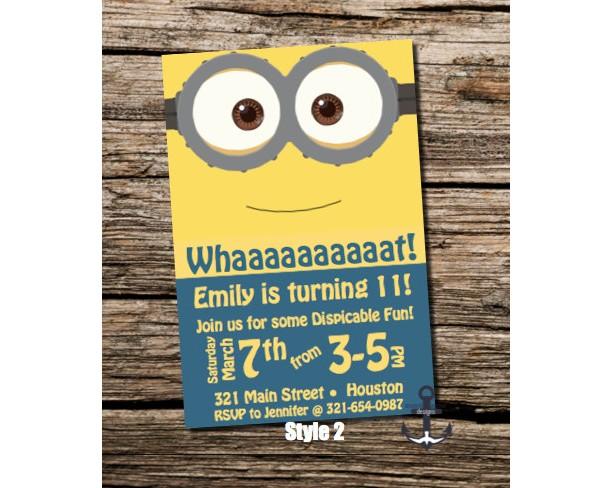 Minion birthday party invites chalkboard 100 personalized minion birthday party invites chalkboard 100 personalized birthday party invitation 3 styles filmwisefo Choice Image