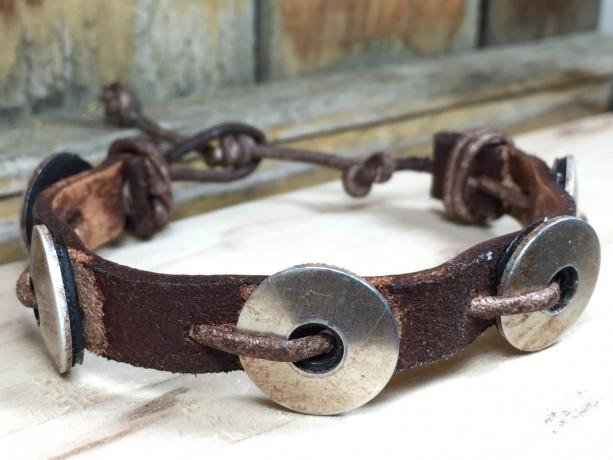 Washer Leather Bracelet, Brown Leather Bracelet, Adjustable Bracelet, Hardware Jewelry, Textured Bracelet, Unisex Bracelet, Braided Bracelet