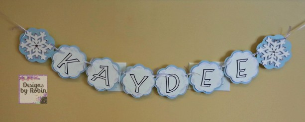 Snowflake Winter Name Banner, blue purple and white name banner, baby banner, its a girl - Winter Wonderland - Froze ice - Ice princess