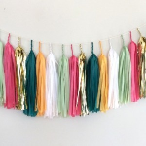 Cactus Blossom Tassel Garland // gold // cream // neutrals // event decor // wedding // party // nursery //