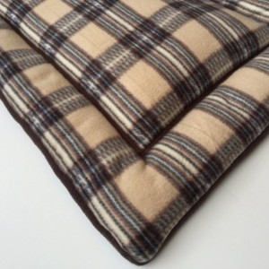 Tan Brown Plaid Dog Bed, Dog Crate Pads, Puppy Pad, Large Crate Pad, Fleece Pet Bed, Dog Gifts, Gifts for Dog Lovers, Dog Gift Basket