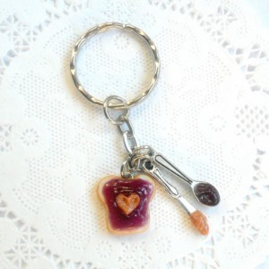 Peanut Butter Heart and Grape Jelly Keychain, With Knife & Spoon, Cute :D FREE SHIP!