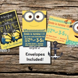 Minion Birthday Party Invites - Chalkboard -  100% Personalized - Birthday Party Invitation 3 Styles With Envelopes!