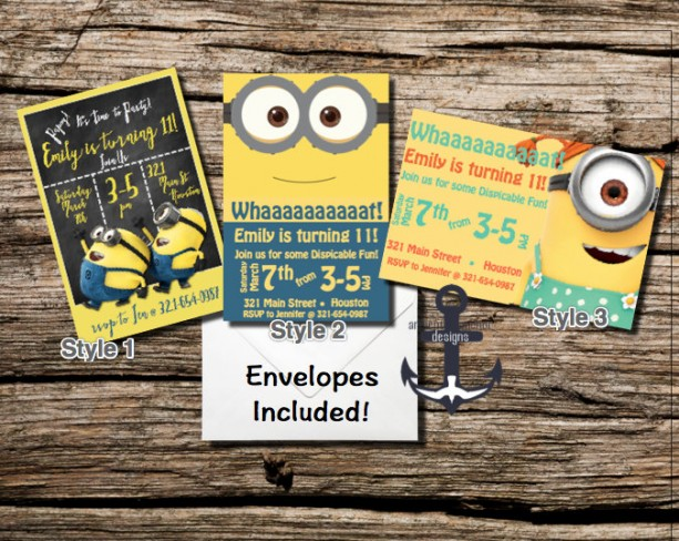 Minion Birthday Party Invites Chalkboard 100 Personalized – Party Invitation Envelopes