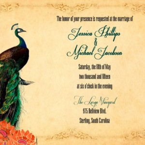 Custom Peacock Wedding Invitations with Rsvp - ANY COLOR - Peacock Invitations