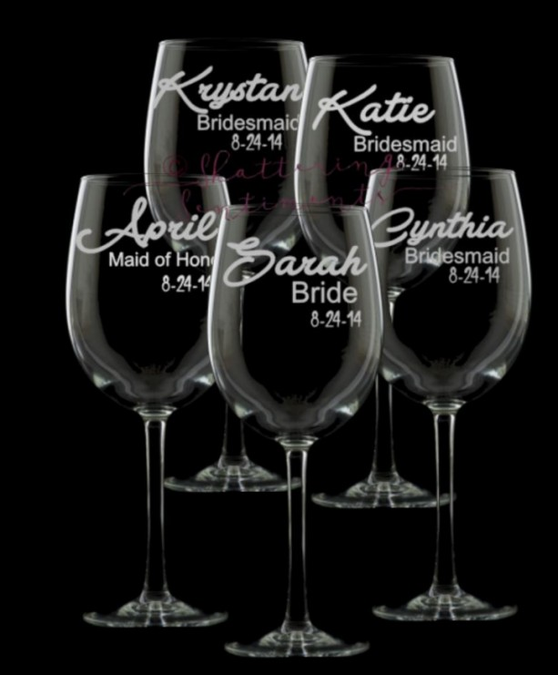 Bridal Party Personalized Wine Glasses, Set of 5