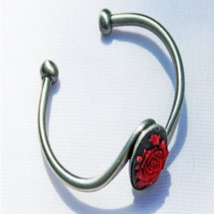 Red Rose Gothic Boho Cuff Bracelet Festival Jewelry