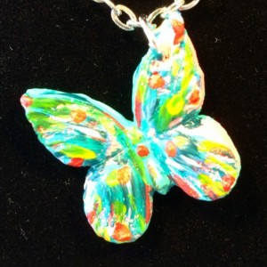 Butterfly necklace, butterfly pendant, butterfly jewelry, butterfly charm, handpainted butterfly, polymer clay butterfly, OOAK.