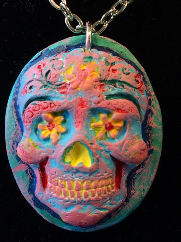 Day of the Dead, Sugar Skull, Calavera, Dia de los Muertos, skull, pendant, necklace, candy skull, charm! Gifts under 25.