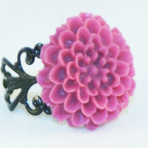 Pink and Black Flower Ring
