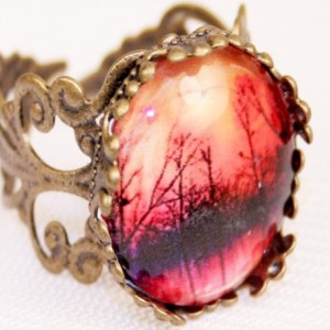 Sunset Glass Filigree Ring