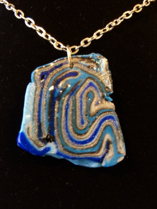 Agate sliced blue style pendant. Cobalt blue and silver pendant necklace crafted from polymer clay. Unique gifts under 25. Bridesmaids.