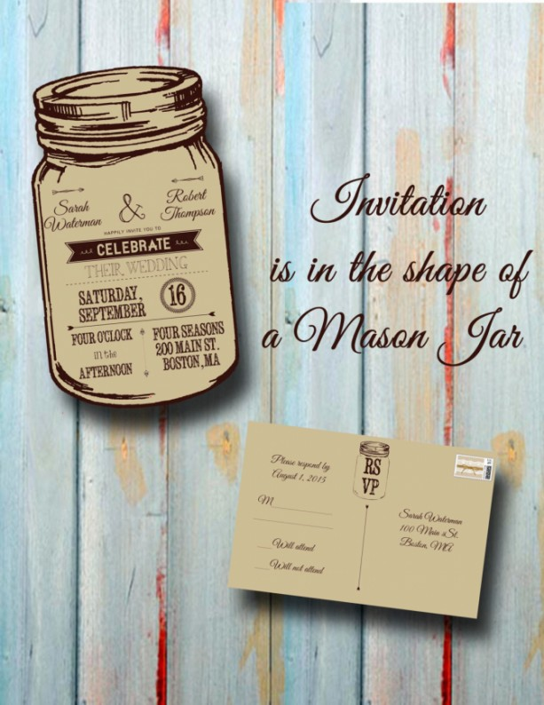 Custom Personalized Rustic Mason Jar Wedding Invitation With Response Card