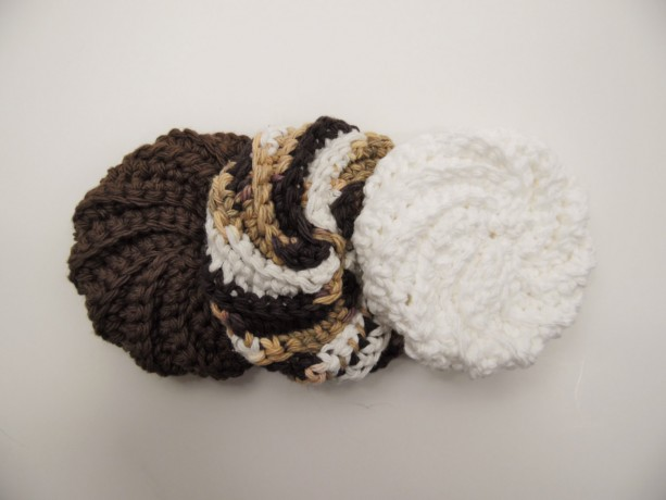 3 Pack Crochet Dish Scrubbies Brown, Brown and White Spiral, and White