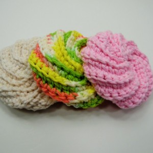 3 Pack Crochet Dish Scrubbies Cream, Green/Yellow/Pink Spiral, and Pink