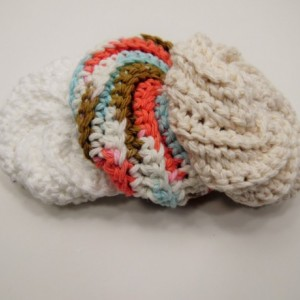 3 Pack Crochet Dish Scrubbies White, Blue/Brown/Pink Swirl, and Cream