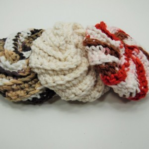 3 Pack Crochet Dish Scrubbies Brown\White Swirl, Cream, and Red\Brown\Cream Swirl