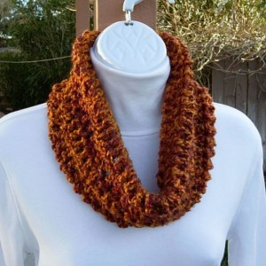 SUMMER COWL SCARF Dark Burnt Orange Brown Rust Gold Small Short Infinity Loop Crochet Knit Soft Lightweight Neck Warmer, Ready to Ship in 2 Days