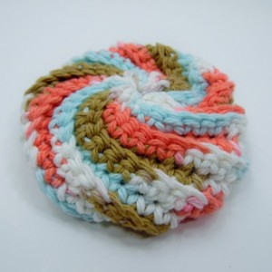 3 Pack Crochet Dish Scrubbies White, Blue/Brown/Pink Swirl, and Cream