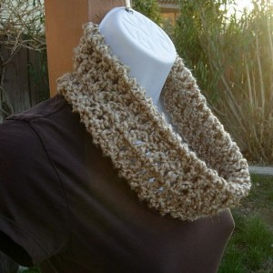SUMMER COWL SCARF Natural Solid Beige, Oatmeal Small Short Infinity Loop, Handmade Crochet Knit Soft Neck Warmer..Ready to Ship in 2 Days