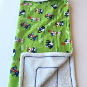 Green Sport Dogs Blanket, Green Baby Blanket, Toddler Nap Blanket, Pet Blanket, Sport Kid Blankets, Green Dog Blanket, Boy Sports Blanket